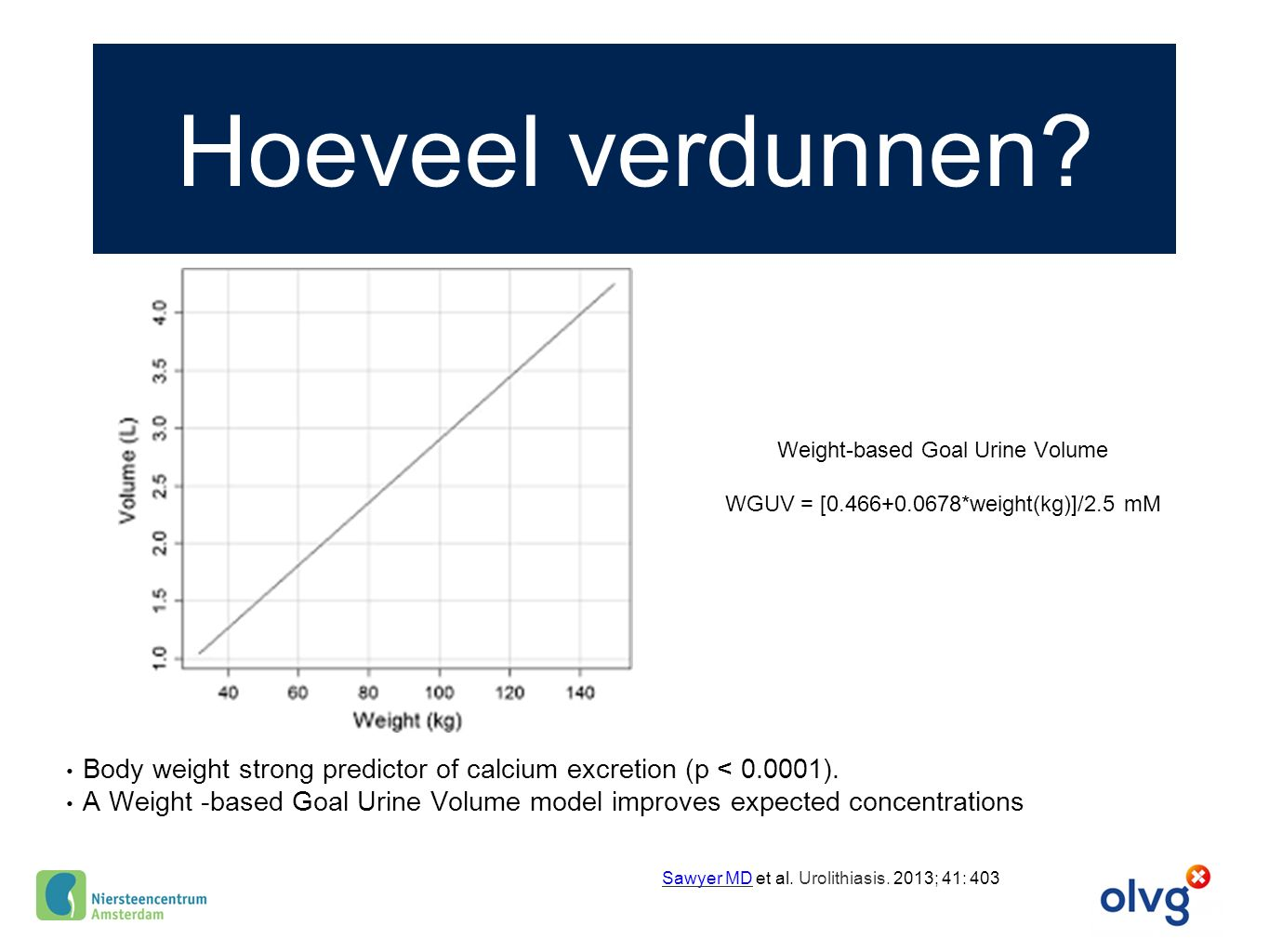 Hoeveel verdunnen Weight-based Goal Urine Volume. WGUV = [0.466+0.0678*weight(kg)]/2.5 mM.